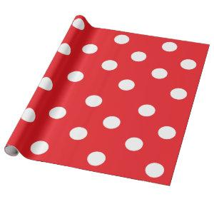 "Red and White Polka Dots Wrapping Paper 30"" x 6''"