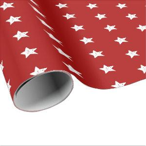 Red and White Stars Wrapping Paper