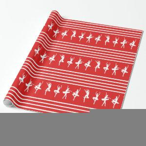 Red and White Striped Ballet Dancer Christmas Wrapping Paper