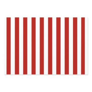 Red and White Stripes Wrapping Paper Sheets