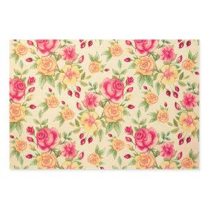 Red and Yellow Roses vintage Floral Flower Pattern Wrapping Paper Sheets