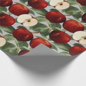 Red Apples Botanical Gray Watercolor Wrapping Paper