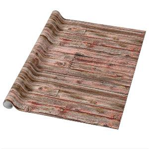 red barn wood wrapping paper
