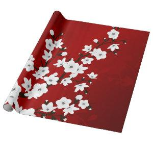 Red Black And White Cherry Blossoms Wrapping Paper