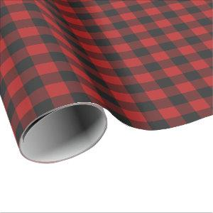 Red & Black Gingham Checked Pattern Wrapping Paper