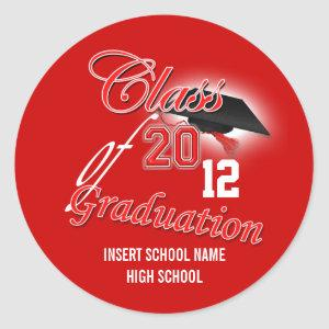 "Red black graduation ""class of"" announcement classic round sticker"