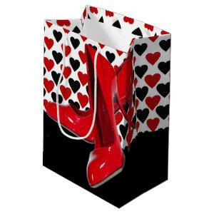 Red & Black Hearts With Red High Heels Medium Gift Bag