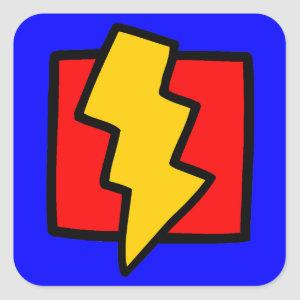 Red Blue and Yellow Lightning Bolt Square Sticker