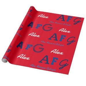 red blue custom names . personalized initials wrapping paper