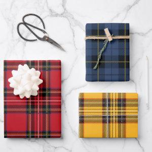 Red, Blue, & Yellow Plaid Wrapping Paper Sheet Set
