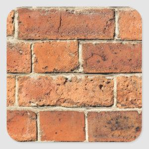 Red brick wall square sticker