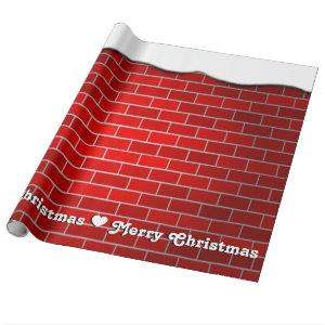 Red Brick with Snow Drift - Snowy Top Wrapping Paper