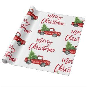 Red Brush Script Christmas Vintage Truck Wrapping Paper