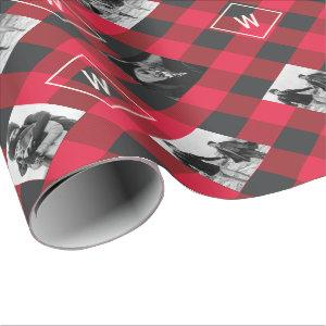 Red Buffalo Plaid | Monogram & Photos Christmas Wrapping Paper