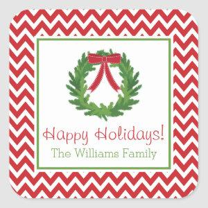 Red Chevron Holiday Wreath, Christmas Sticker