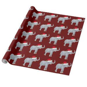 Red Christmas Elephant Wrapping Paper