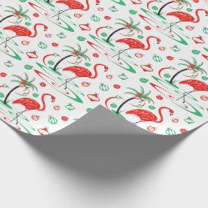 Red Christmas Flamingo Baubles gift wrap