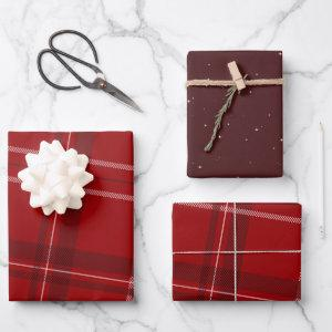 Red Christmas plaid Wrapping Paper Sheets