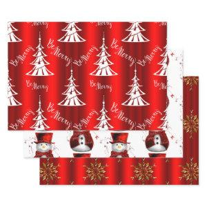 Red Christmas Wrapping Paper Sheets