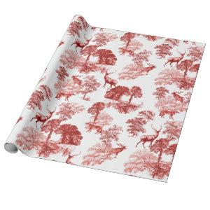 Red Classical French Country Toile Deer Forest Wrapping Paper