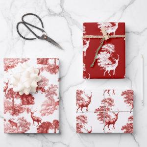 Red Classical French Country Toile Deer Forest Wrapping Paper Sheets