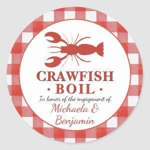 Red Crawfish Boil Seafood Party Picnic Engagement Classic Round Sticker