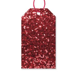 Red Faux Glitter Gift Tags