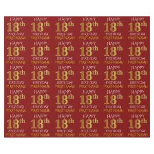 "Red, Faux Gold ""HAPPY 18th BIRTHDAY"" Wrapping Paper"