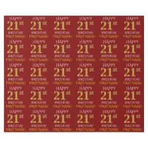 "Red, Faux Gold ""HAPPY 21st BIRTHDAY"" Wrapping Paper"