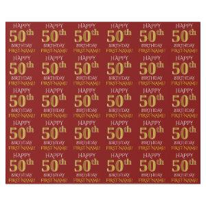 """Red, Faux Gold """"HAPPY 50th BIRTHDAY"""" Wrapping Paper"""