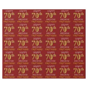 "Red, Faux Gold ""HAPPY 70th BIRTHDAY"" Wrapping Paper"