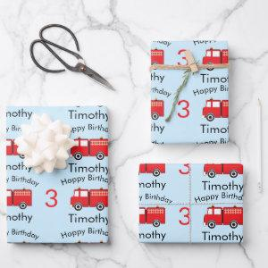 Red Fire Truck Pattern Boy's Name & Age Birthday  Sheets
