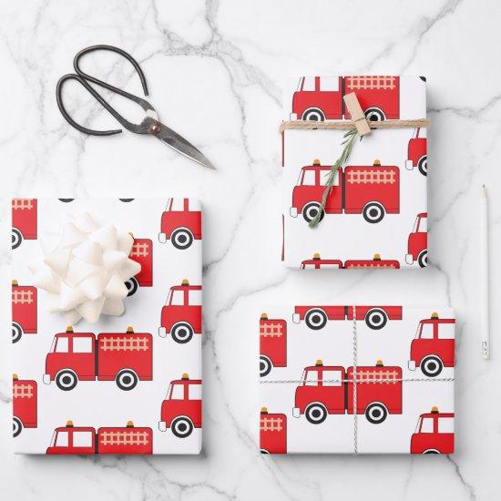 Red Fire Truck Wrapping Paper Sheets