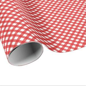 Red Gingham Pattern Glossy Wrapping Paper
