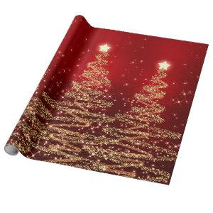 Red & Gold Glitter Christmas Trees Holiday Wrapping Paper