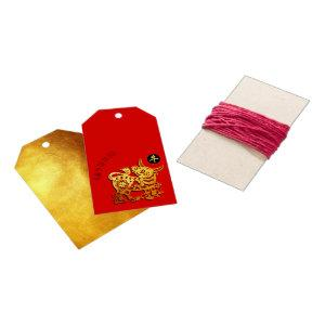 Red Golden Ox Papercut Chinese New Year 2021 GiftT Gift Tags