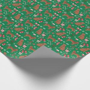Red Golden Retriever dog christmas Wrapping Paper