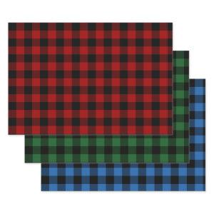Red, Green, and Blue Buffalo Plaid Holiday Wrapping Paper Sheets