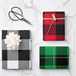 Red Green and White Buffalo Plaid Christmas Multi Wrapping Paper Sheets