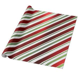 Red & Green Candy Cane Stripes Wrapping Paper