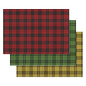 Red Green Gold Buffalo Plaid Check Tartan Patterns Wrapping Paper Sheets