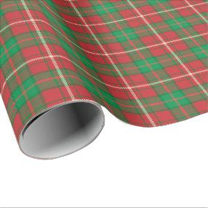Red green plaid Christmas wrapping paper