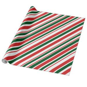 Red Green White Diagonal Candy Stripes Wrapping Paper