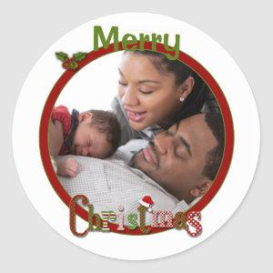 Red, Green, White Merry Christmas Photo Sticker