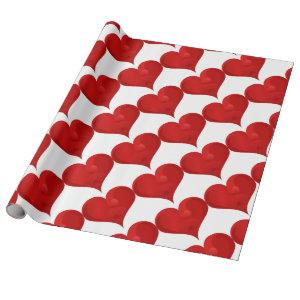 Red Heart For Valentine day Wrapping Paper
