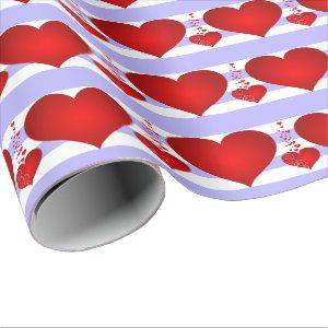 Red Hearts and Purple and White Stripes Wrapping Paper