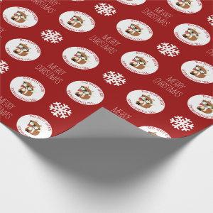 Red Hipster Holiday Fox Personalized Wrapping Paper
