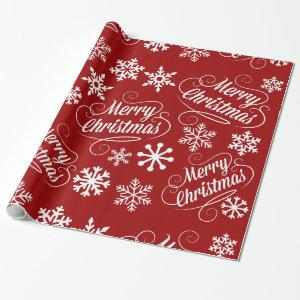 Red Holiday Snowflakes Merry Christmas Gift Wrap