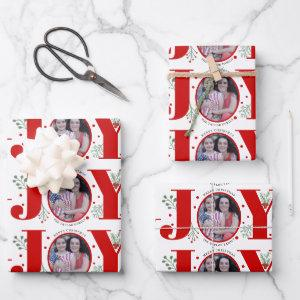 Red Joy with berries Christmas holiday photo Wrapping Paper Sheets