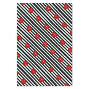 Red lips black white stripes tissue paper